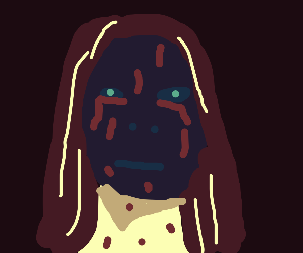 Woman wearing mask covered in blue blood