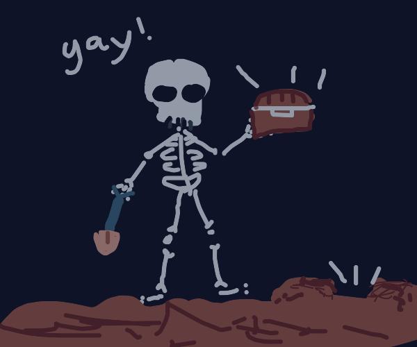 Skeleton finding treasure