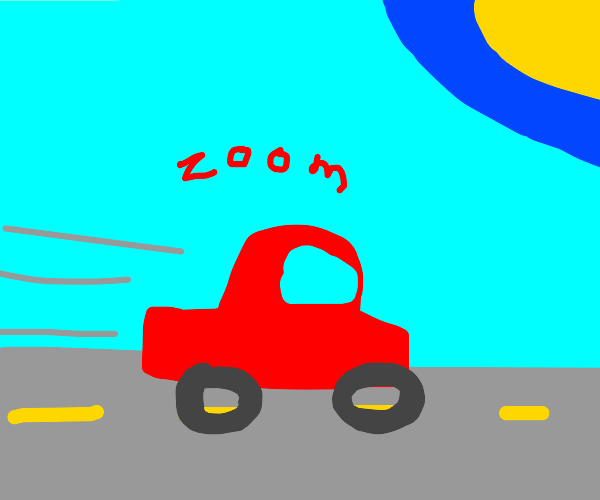 Epic red car zooms away