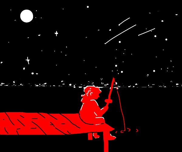 woman fishing under the stars