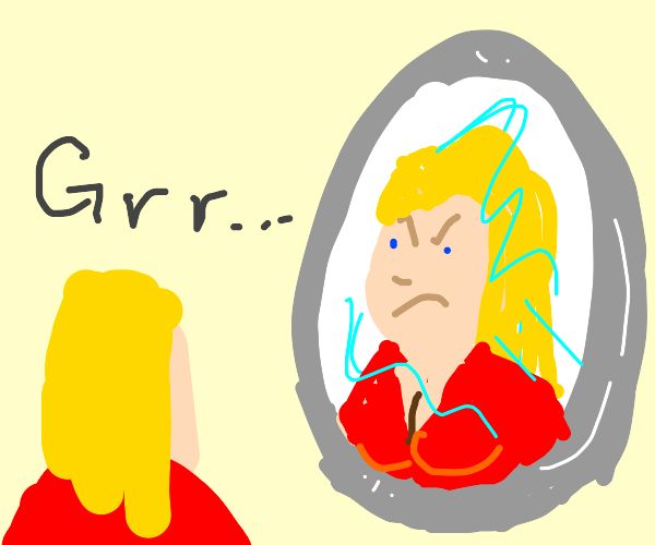 angry girl in mirror