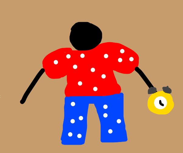 Man wearing polkadots holding a clock