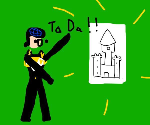 Josuke drew a castle, wants your opinion