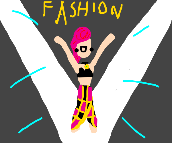 pink haired lady on the fashion runway