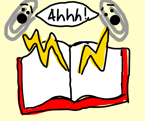 Paperclips shocked by an open book
