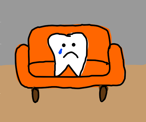 sad tooth on an orange couch; tragic