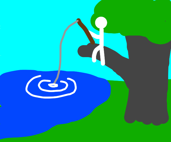 White humanoid fishing from a tree