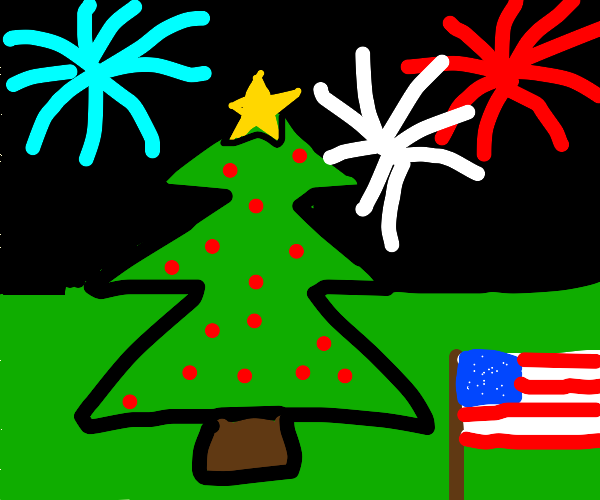 Christmas tree during 4th of July