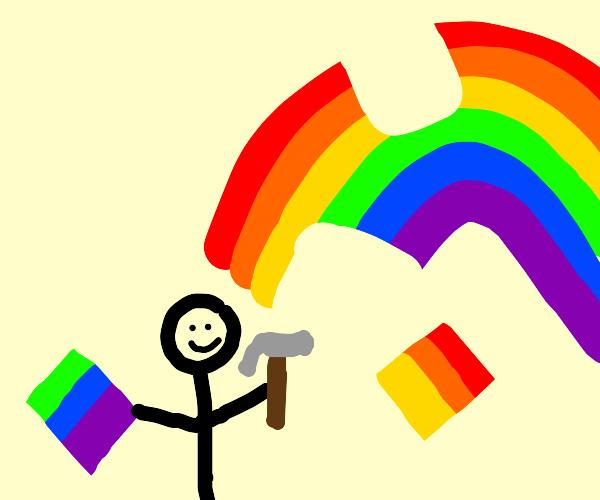 Man building a rainbow