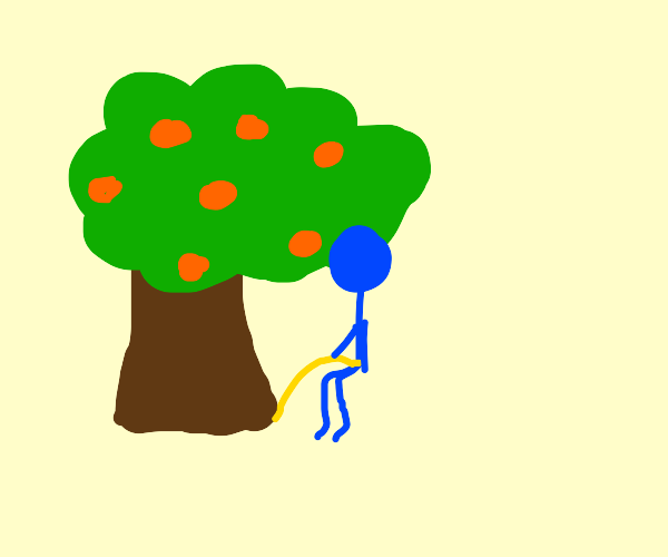 Big nosed guy pees on tree