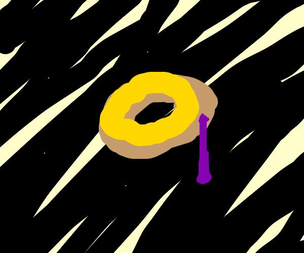 Giant space donut leaks purple jam