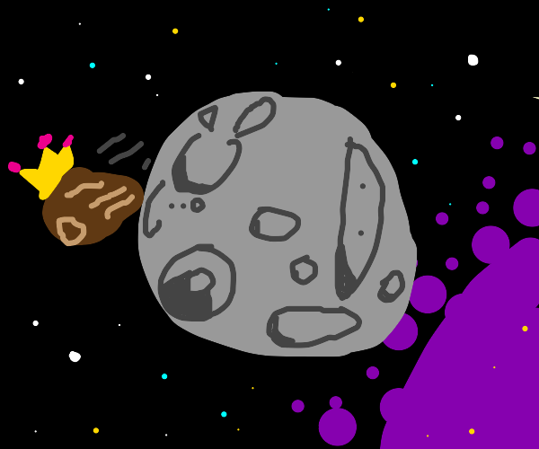 Majestic asteroid passes the moon.