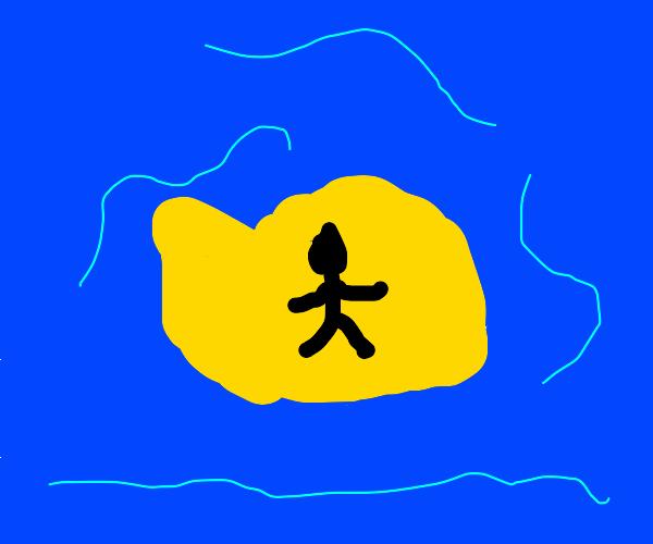 man on island