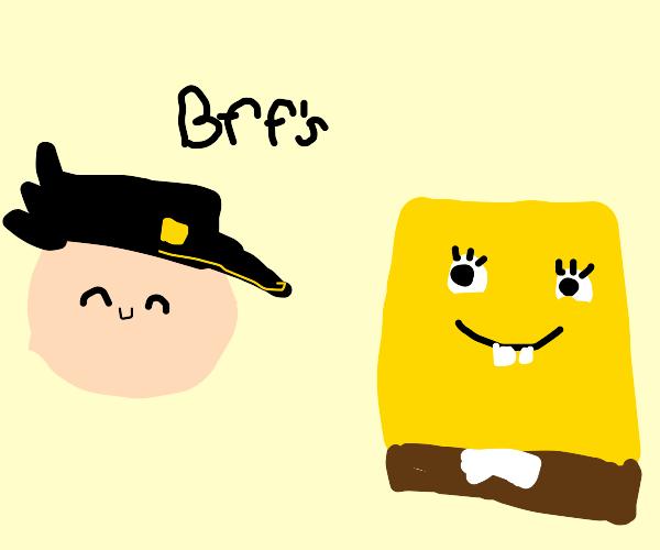 jotaro and spongebob are buds