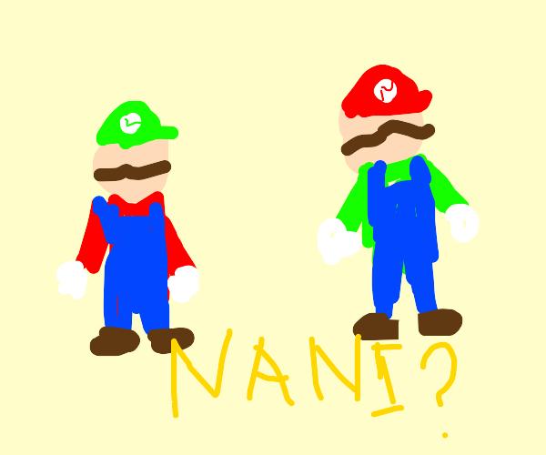 luigi and mario hat swap (nani?)