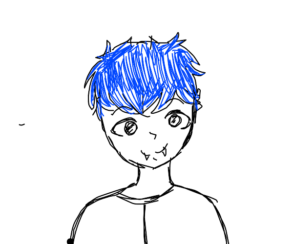 small blue-haired vampire