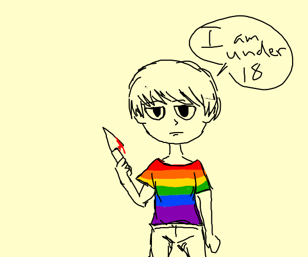 Rainbow-dressed child with a bloody knife