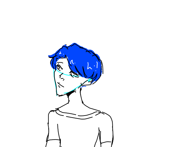 Blue haired man