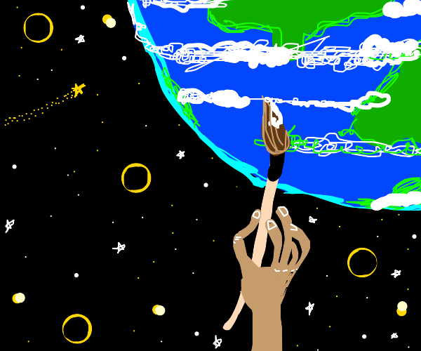 a lil guy painting the world into existence