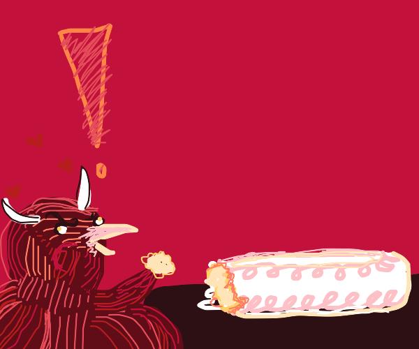 bird demon ate waaaay too much cake
