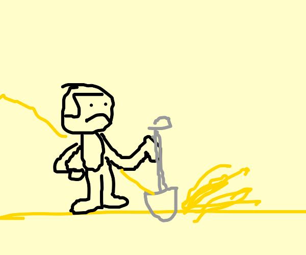 sad little man digging desert sand
