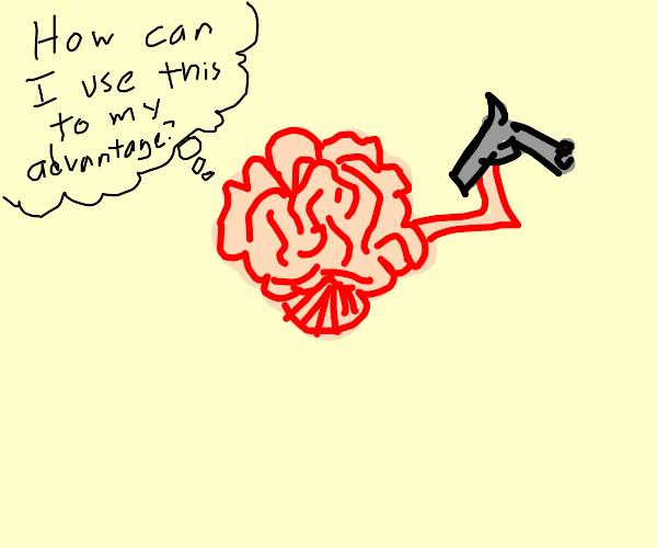 Brain holding a gun