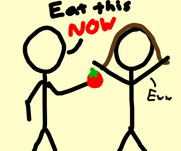 man forces a woman to eat a tomato