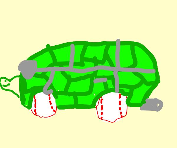 Turtle Car with Baseball Wheels
