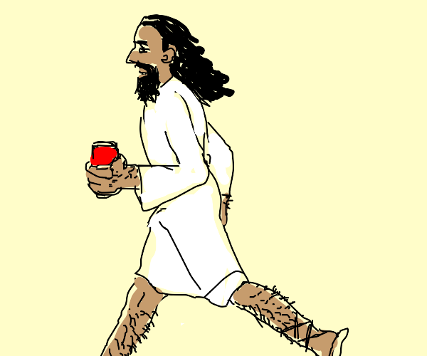 Jesus jogging with a Can