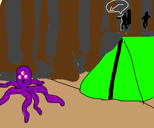 3-eyed purple octopus's camping trip goes bad