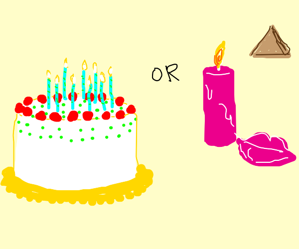 Birthday cake w/ 1 candle, wax lips, pyramid