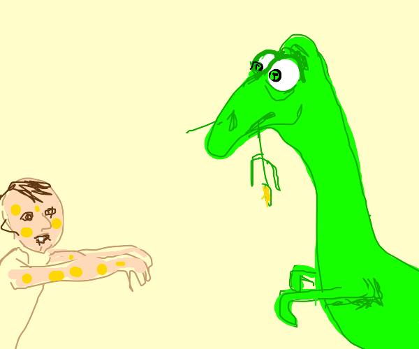Guy uses banana smallpox to scare dinosaur