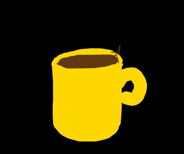 Yellow coffee mug is so, so sparkly.