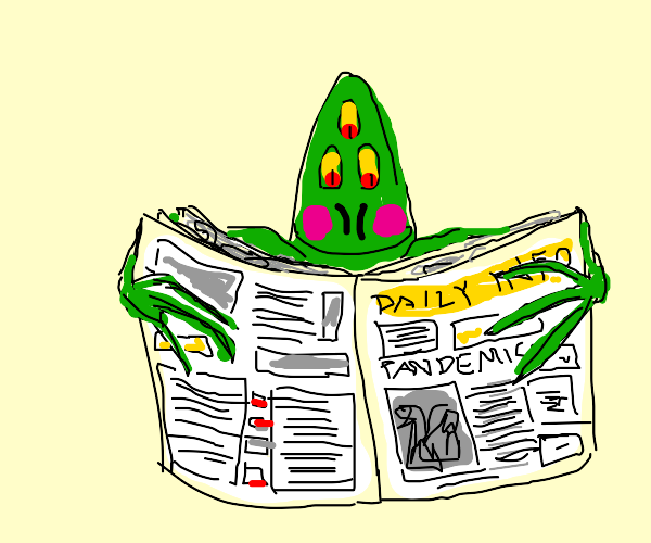 Happy alien with blush reads human news paper