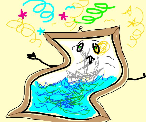 a painting having a seizure