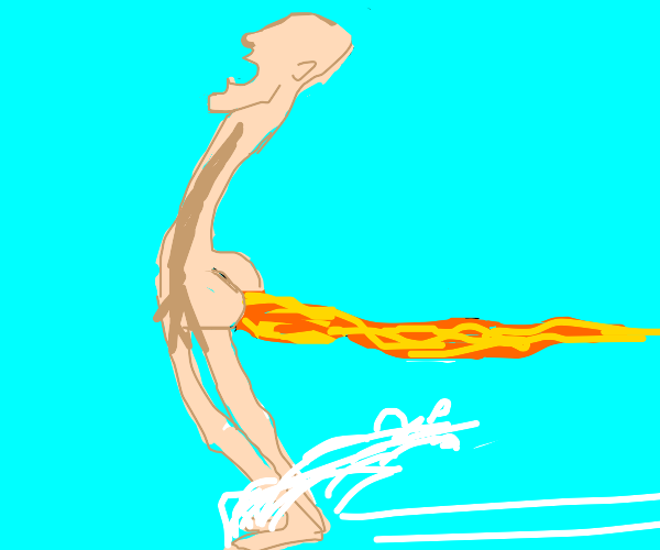 guy farting fire moving very fast