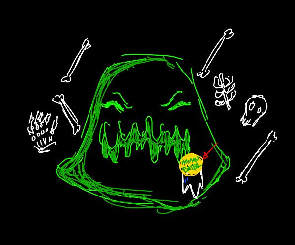 Slime wins human eating contest