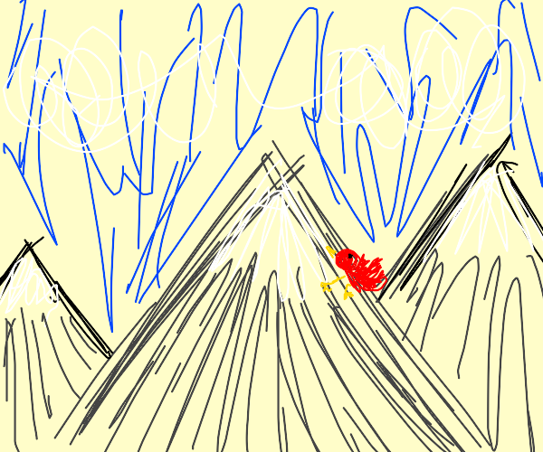 red bird climbing a mountain