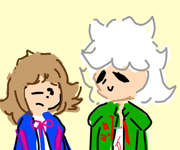 Winky anime girl with a white haired boy