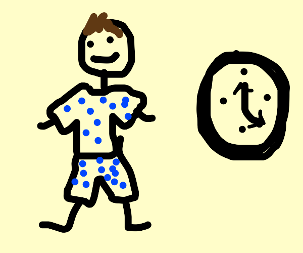 Stickman wearin polka-dotted clothes w/ clock