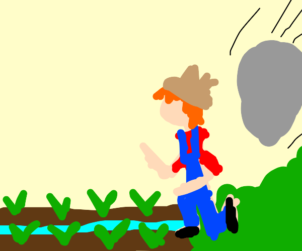 farmer is gonna get crushed by boulder