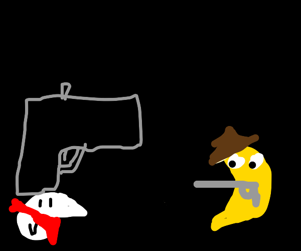 birb and banana have a mexican standoff