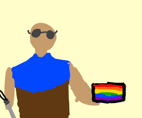 Blind guy holding a pride block