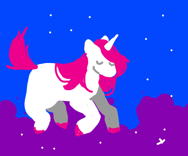 unicorn flying in SPACEEEEEEEE
