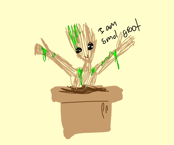 baby groot in a pot