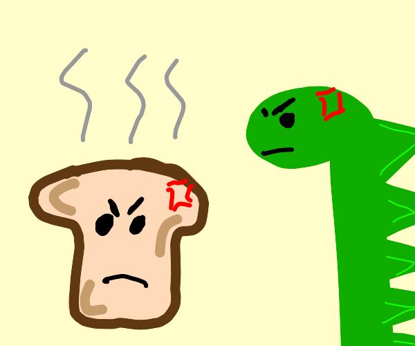 Toast vs a dinosaur