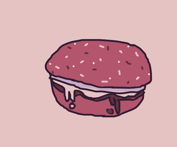 Hamburger with mayo & ketchup & seeded bun