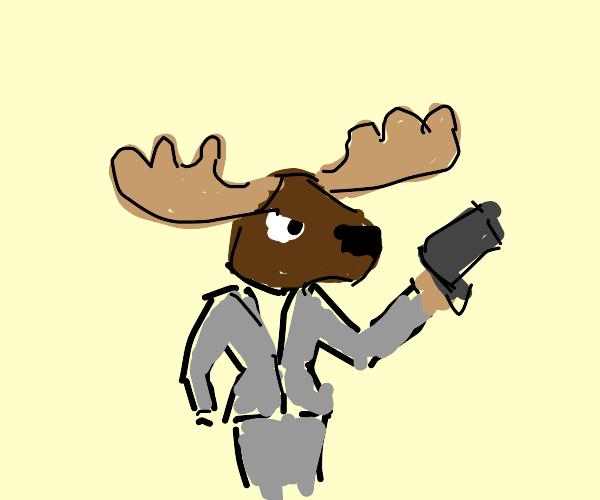 Moose in suit holds gun