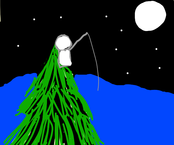 night fishing from the top of a fir tree