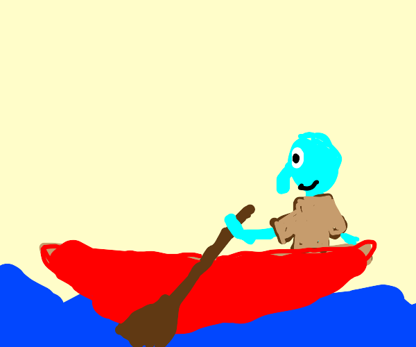 Squidward in a rowboat